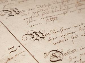 "Utsnitt fra boken ""Die Nachbarn Buck in den Sold Garen 1653 – 1858."" Foto: Morten Heiselberg"