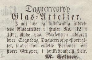 Bergen Adressecontoir - nr 58 - 16 mai 1854 Reklame for Marcus Selmer